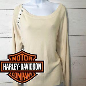 Harley Davidson Cream Sweater Embroidered 1X